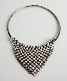 Kenneth Jay Lane Silver Crystal V Mesh Bib Necklace New * #KennethJayLane #Statement