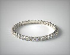 56321 wedding rings, womens eternity, 14k white gold ladies 050ctw contoured common prong diamond eternity ring item - Mobile