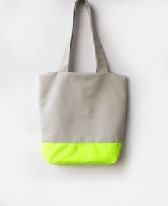 Neon Tote bag Grey and Neon by byMART on Etsy, $35.00