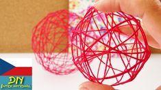 Dekorace - koule z vlny - letní dekorace z vláken, balonek - DIY Make Your Own, Make It Yourself, How To Make, Decorate Your Room, String Art, Decorative Bowls, Christmas Bulbs, Diys, Balloons