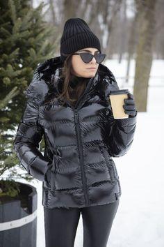 Nylons, Down Puffer Coat, Black Down, Shiny Leggings, Puffy Jacket, Outerwear Women, Jackets For Women, Winter Coats, Winter Fashion