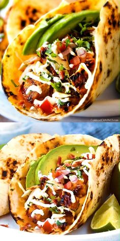 Honey Chipotle Chicken Tacos These are ADDICTINGLY DELICIOUS! Honey Chipotle Chicken Tacos stuffed with wonderfully juicy, flavor packed Honey Chipotle Bacon Chicken (yes BACON chicken!), piled with crispy BLT Slaw and creamified with Cilantro Lime Crema! Chicken Taco Recipes, Mexican Food Recipes, Vegetarian Recipes, Cooking Recipes, Lunch Recipes, Easy Recipes, Vegetarian Cooking, Best Food Recipes, Taco Chicken