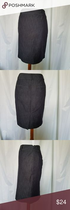 "APT.  9 BLUE STRETCH DENIM PENCIL SKIRT 4 NWOT APT. 9 BLUE STRETCH DENIM PENCIL SKIRT Size 4 NWOT. Perfect for career or casual.  It has two faux welt pockets and a 6"" split on the back. It has belt loops and a hidden side zipper. Waist is 14.25""*hips are 18""-taken 9"" down from waist and length is 21.5"". All measurements are approximate and taken flat. Apt.9 Skirts Pencil"