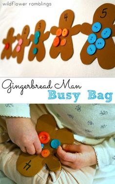 Gingerbread Man Button Counting Busy Bag - Wildflower Ramblings