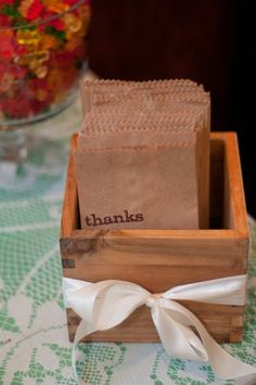 Cute Idea, Have a bar of snacks with thank you bags.