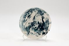 Hand-Marbled Plate - Teal and White