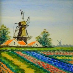Vintage painted ceramic tile : Dutch scene with windmill and tulip field