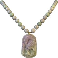 """Lavender Green Jade Carved Dragon 14K Necklace Certified by Mason Kay 24"""" from @Rare Treasures on Ruby Lane"""