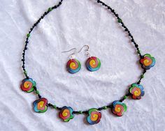 Polymer clay necklace & earrings | par Tania P.