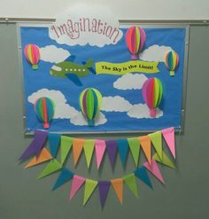 hot air balloon bulletin board i created for school travel bulletin boards, spring bulletin Preschool Bulletin Boards, Classroom Bulletin Boards, Classroom Themes, Future Classroom, Board Decoration, Class Decoration, Hot Air Balloon Classroom Theme, School Displays, Display Boards For School