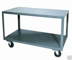 Durham Welded 14 Gauge Steel High Deck Portable Table, 2 Shelves, 1200 lbs Capacity, Length x Width x Height High Deck, Tea Cart, Mobile Storage, Portable Table, Cabinets For Sale, Kitchen Cart, Durham, The Ordinary, Shelves
