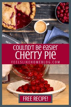 The best classic, simple, and easy cherry pie recipe - This pie takes less than 5 minutes to assemble because it uses canned pie filling and pre-made crust. Sweet, old fashioned, homemade pie that doesn't take any time to make. #quickandeasy #30minutemeals #weeknightmeals