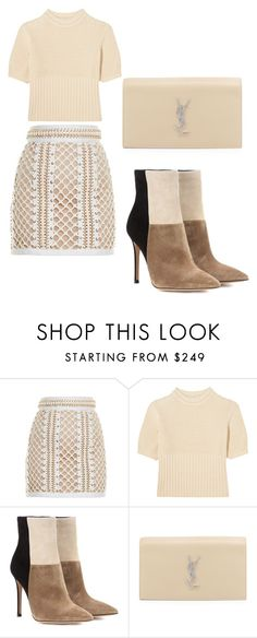 """""""Untitled #110"""" by lucyhilda ❤ liked on Polyvore featuring Balmain, Totême, Gianvito Rossi and Yves Saint Laurent"""