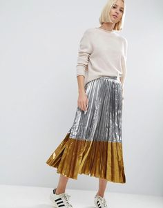 ASOS Pleated Midi Skirt in Metallic with Contrast Hem - Silver