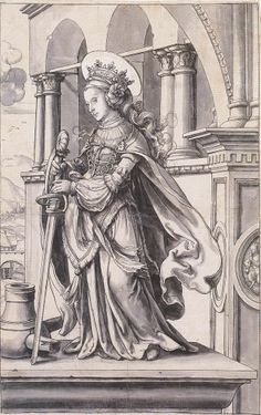 St Catherine of Alexandria, Design for a Stained Glass Window, by Hans Holbein the Younger
