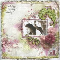 """""""Fun Friends"""" layout in ivory, pink, violet, and sage green."""