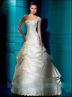 Allix says 5 stars! :-)    Taffeta One Strap Slim Applique Bodice  Pick Up A Line Skirt With Tulle Underlay In Chapel Train 2011 New Wedding Dress WD 135