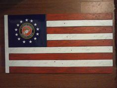 """Wooden American Flag--""""USMC Tribute""""--handmade from antique recycled wood by Salvageflags on Etsy https://www.etsy.com/listing/222989563/wooden-american-flag-usmc-tribute"""
