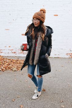 Quilted Jacket and Knit Hat | Winter Fashion