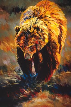 """Wandering by Terry Lee Brown Grizzly Bear Wildlife Canvas Giclee L/E Print 40x30  - Terry has created a truly unique style that sets his work apart. Viewers and collectors of Terry's work enjoy oil paintings that present contemporary realism with an impressionistic edge and have been termed, """"A breath of fresh air in a world of sameness"""". Terry did ..click an image to read more and see more artwork. Tags,Grizzly,Brown,Brown Bear,Grizzly Bear,Bears,Osos,"""
