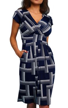 Margot Navy Pane | Margot is a print dress in navy blue and white, the perfect easy wear dress for Spring / Summer and transitional seasons. Whether at work or play, she provides a super fit on all figures whether large and curvy or petite. With just the right amount of swish, you'll feel feminine and classy. The crossover bodice is perfect for larger busts providing ample coverage for bigger boobs. The ruched cummerbund waist provides definition and distracts from a troublesome mid-section.