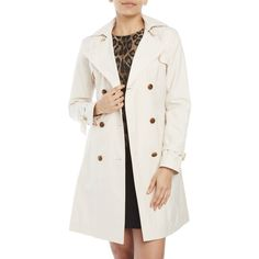 Cole Haan Belted Trench Coat ($90) ❤ liked on Polyvore featuring outerwear, coats, ivory, belted trench coat, hooded coat, fur-lined coats, double-breasted coat and double-breasted trench coat