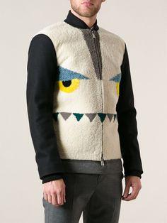 Fendi Monster Print Shearling Bomber Jacket - Stefania Mode - Farfetch.com