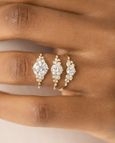2.24 Ct Multi-Shape Sim Diamond 14K Yellow Gold Fn 3-Stone Cluster Wedding Ring
