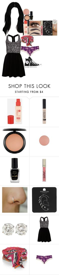 """16th party / Angus, thongs and perfect snogging // 2008"" by fuckmeirwin ❤ liked on Polyvore featuring Rimmel, MAC Cosmetics, Barry M, Topshop, Oh My Love, Chan Luu and Converse"