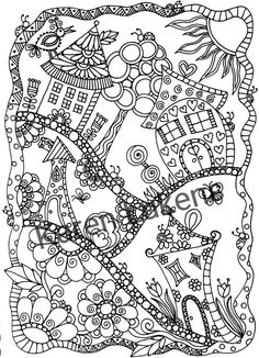 Check out this item in my Etsy shop https://www.etsy.com/listing/281377218/happyville-1-1-adult-coloring-book-page