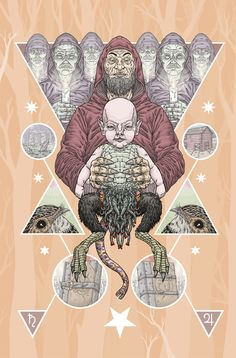 """Michael Bukowski's amazing """"Dunwich Horror""""-based print. loving the baby Wilbur Whateley in the center. Nice and creepy!"""
