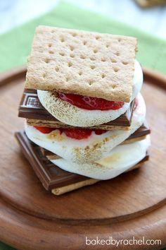 Strawberry S'mores Recipe from bakedbyrachel.com  YUM!