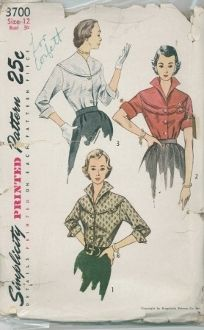 An original ca. 1951 Simplicity Pattern 3700.  Misses' Blouse: Yoke and collar, View 1 and 2, are cut in one. Yoke is top-stitched to bodice. View 1, with a button trimmed tab extension. Three-quarter sleeves have pointed cuffs. View 2 has short cuffed sleeves and a yoke inset. Blouse, View 3, is collarless with a raised V neckline. The three-quarter sleeves are cuffed.