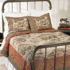 Toile Print Coverlet - Horse Themed Gifts, Clothing, Jewelry & Accessories all for Horse Lovers