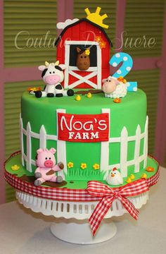 Couture Di Sucre Farm Birthday Cakes, Baby Boy Birthday Cake, Animal Birthday Cakes, Farm Animal Birthday, 2nd Birthday, Birthday Ideas, Barnyard Cake, Barn Cake, Farm Animal Cakes