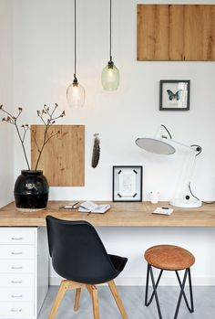White home office with a white About a Chair -chair from Hay via Talosanomat. >>> Be sure to check out this helpful article. #CreativeHomeDecor