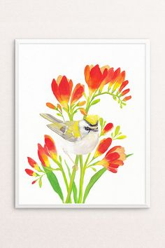 Bird Decor for Happy Homes  by PRINTSPIRING | Watercolour + Gouache Firecrest, Freesia Painting