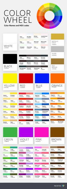 Color psychology in marketing - color names hex codes chart infographic Split Complementary Color Scheme, Tertiary Color, Hex Codes, Hex Color Codes, Color Terciario, Marketing Colors, Color Psychology Marketing, Chart Infographic, Infographics