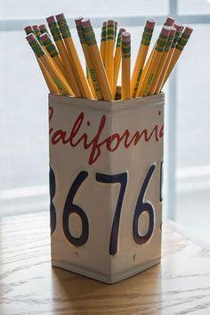 California License Plate Pencil Holder  Pencil by byDadandDaughter