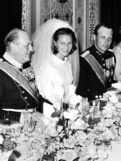 King Olav with the then-Crown Princess Sonja and Crown Prince Harald. 1968.