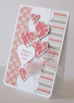 My creative corner: Mother's Day cards. I love the layout, patterns and colors. Fathers Day Cards, Valentine Day Cards, Holiday Cards, Printable Valentine, Valentine Wreath, Valentine Ideas, Valentine Gifts, Cricut Cards, Stampin Up Cards