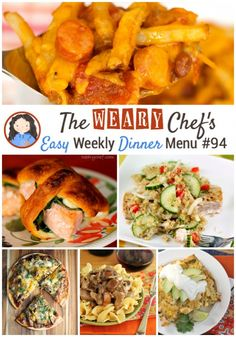 This week's easy weekly dinner menu includes comforting casseroles, healthy soup and salad, fun pizza, and lots more!