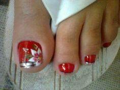 Uñas French Pedicure, Pedicure Nail Art, Toe Nail Art, Mani Pedi, Xmas Nails, Christmas Nails, Feet Nails, Toenails, Christmas Nail Designs