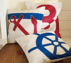 Nautical pillows from repurposed sails! :)