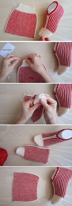 Simple Folded Slippers Tutorial - Design Peak - Stricken ist so einfach wie - Knitting for beginners,Knitting patterns,Knitting projects,Knitting cowl,Knitting blanket Crochet Cable, Knitted Slippers, Slipper Socks, Crochet Slippers, Crochet Granny, Wire Crochet, Easy Crochet, Easy Knitting, Knitting Socks