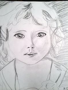 Sketch/Drawing of Young Girl from Vintage Photo, Charcoal and Pencil
