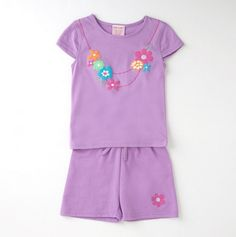 Little Girls' Two Piece Floral Necklace Tee Shorts Set - Day at the Park: Girls' Sets - Events