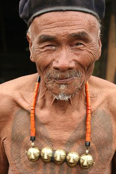 India - nagaland    Upper Konyak Naga with typical tattoo at Monyakshu village. / Wlater Callens