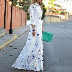 POLO Collar Dot Printed Long Expansion Vacation Dress                      – Stylishplus