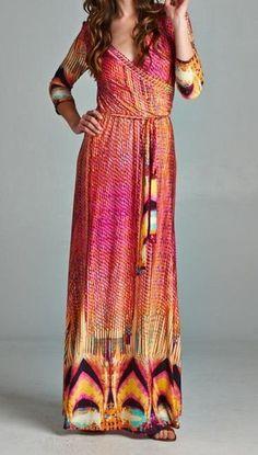 New Shifting Seasons Boho Sunset Maxi Dress-XS/S/M- Pink Mint Multi -Tua USA #Tua #Maxi #Casual